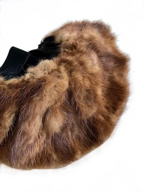 vintage 1930s 1940s wide brim genuine brown mink … - image 2
