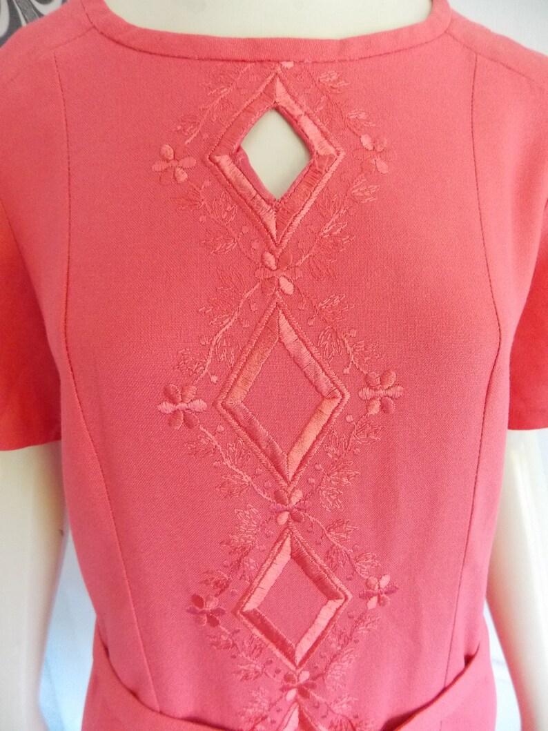 vintage 1960s mod pink mini dress 60s shift dress with belt 60s summer dress