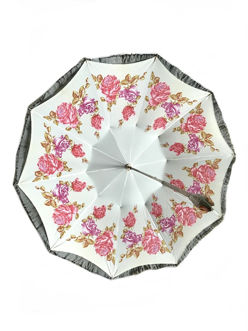 Rare Victorian gray pink floral parasol/ late 1800s sun | Etsy