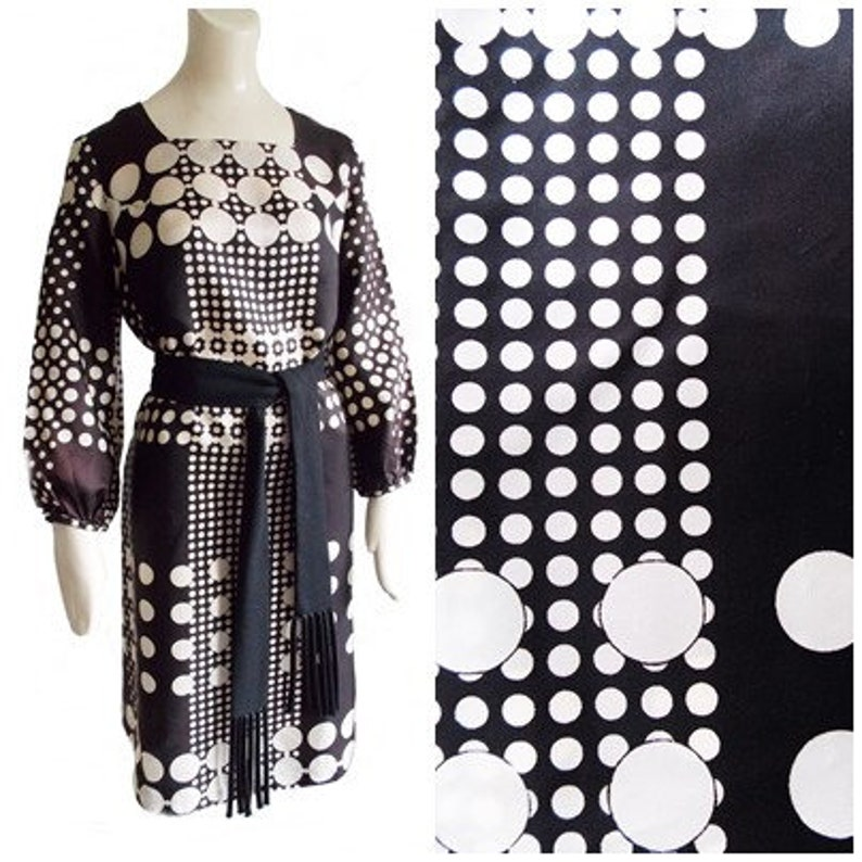 vintage 1960s Mr  Gee mod polkadot go go dress/ 60s geometric op art shift  dress / brown white dress