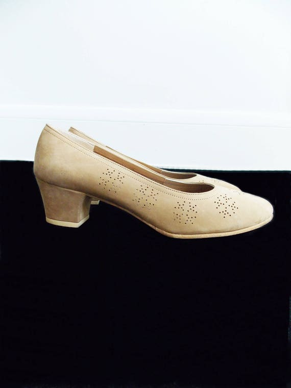 mod beige loafer 60s Ferragamo shoes designer 1960s shoes suede Italy in made Italy pumps Salvatore 4EO5zqT