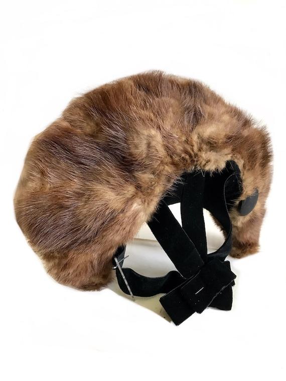 vintage 1930s 1940s wide brim genuine brown mink … - image 4