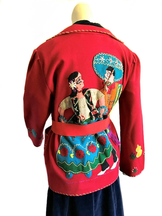 1940s Mexican red wool felt swing souvenir jacket
