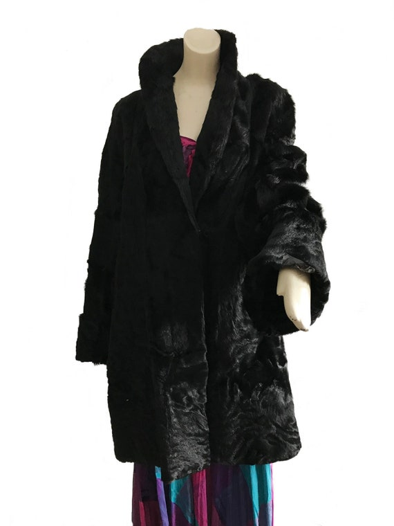 1920s black pony horse hair hide fur coat/ Art Dec