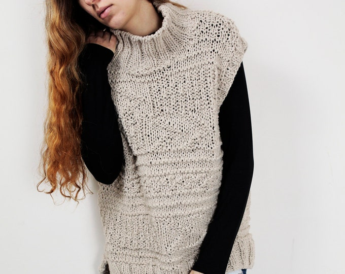 Hand knit woman Tunic sweater long sweater vest wheat pullover sweater