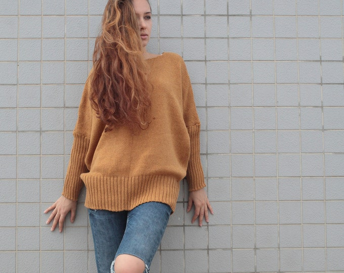 OVERSIZED Woman sweater/ Knit sweater in Mustard