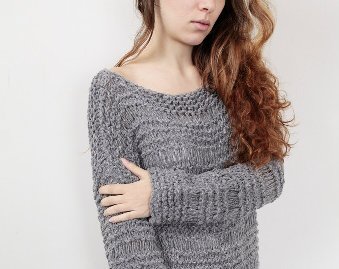 Hand knit sweater wool woman sweater long sweater Grey knit pullover sweater