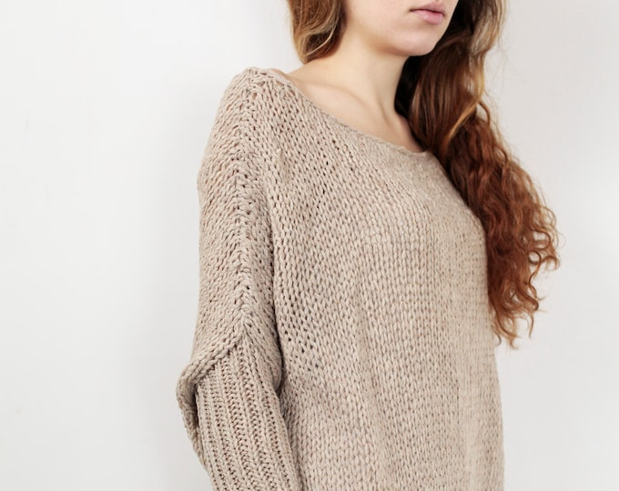 OVERSIZED Hand knit Woman sweater/ Knit sweater kimono sleeve pullover wool sweater wheat - ready to ship