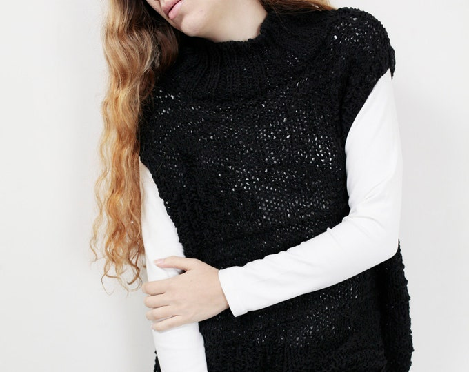 Hand knit woman Tunic sweater long sweater vest black pullover sweater