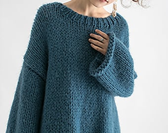 Hand knit woman sweater OVERSIZED mohair sweater top pullover Foggy Blue sweater