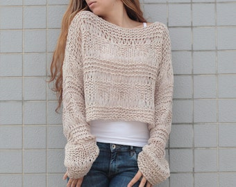 Hand knit sweater wool woman sweater cropped sweater Wheat pullover sweater