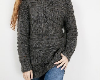 Hand knit oversized sweater wool woman sweater long sweater dark olive pullover  sweater 40257db03