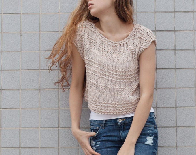 Hand knit woman sweater Tank loose knit coverup cropped Tank Wheat pullover crop vest
