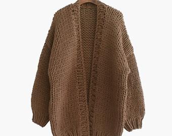 Hand knit oversize woman sweater chunky slouchy Mocha wool cardigan