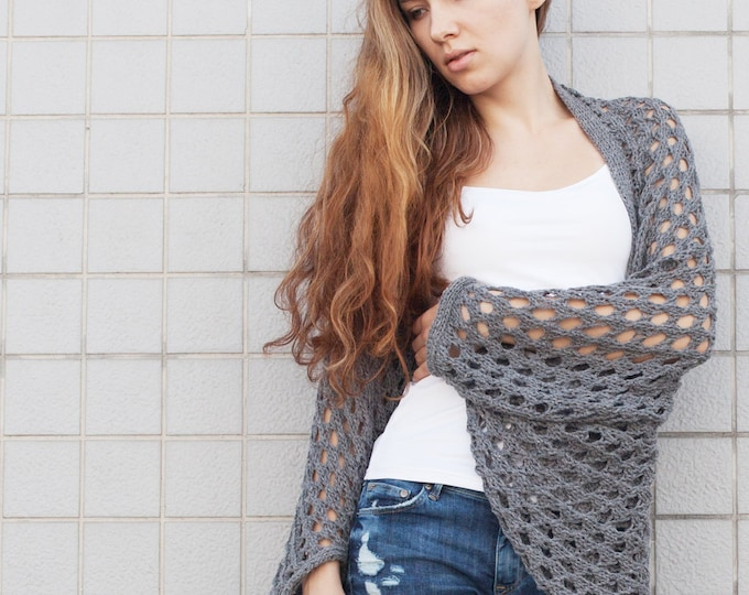 Hand Knit sweater Long cardigan charcoal sweater top wool sweater
