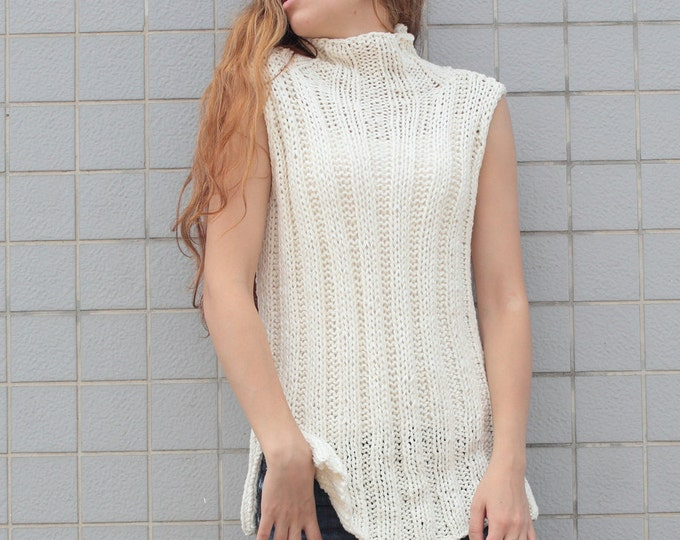 Hand knit woman cotton tunic sweater Tank knit White Cream pullover Top
