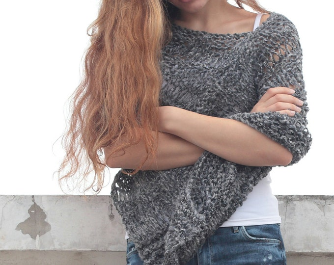 Hand knit little poncho knit scarf knit shrug Charcoal Mohair woman sweater
