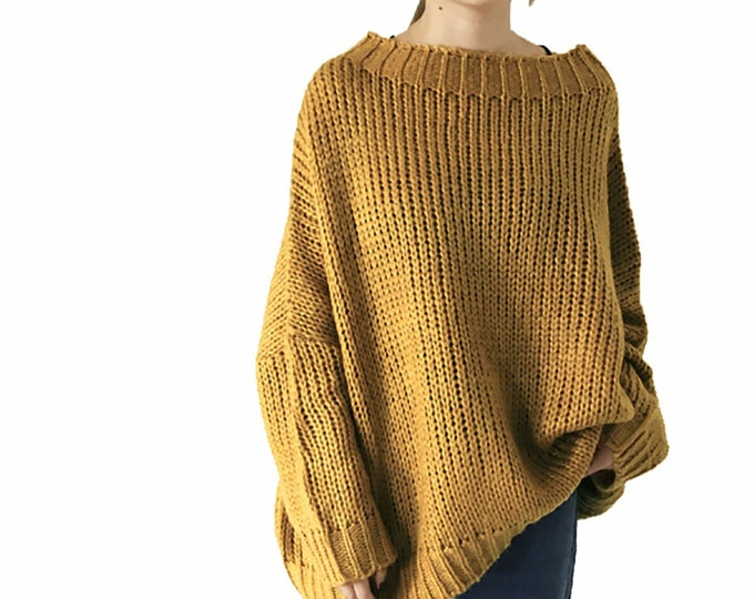 Hand knit oversize woman pullover sweater boat neckline slouchy cotton mustard sweater
