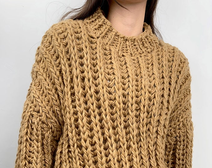 Hand knit oversize woman sweater Crew neck slouchy wool Mustard gold sweater