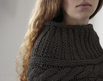 Hand knit woman poncho charcoal capelet Chunky Neck Warmer/Cowl/Tube Scraf cable pattern