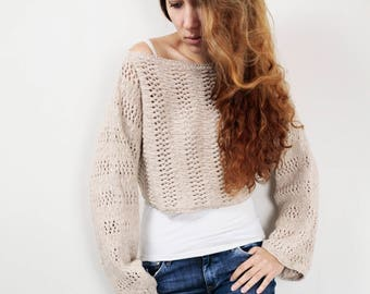 Hand knit sweater Little cover up top cropped sweater wheat pullover sweater