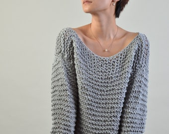 Simple is the best - Hand knit sweater Eco cotton oversized light grey- ready to ship