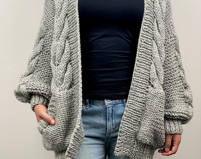 Hand knit oversize woman sweater chunky slouchy grey wool cable knit cardigan