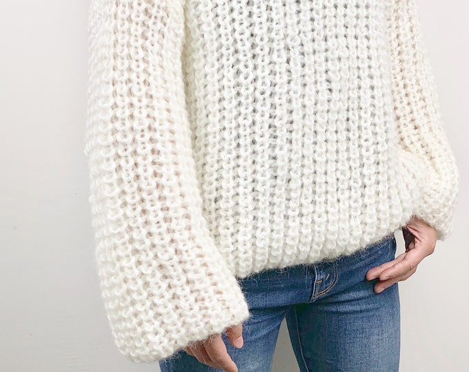 Hand knit woman sweater OVERSIZED mohair sweater top crewneck pullover White Cream sweater