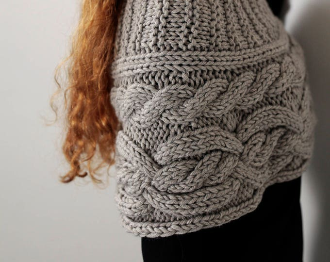 Hand knit woman poncho Grey Beige capelet Chunky Neck Warmer/Cowl/Tube Scraf cable pattern