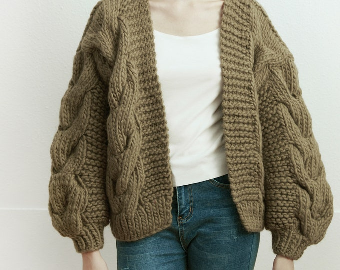 Hand knit oversize woman sweater chunky slouchy khaki wool cable knit short cardigan