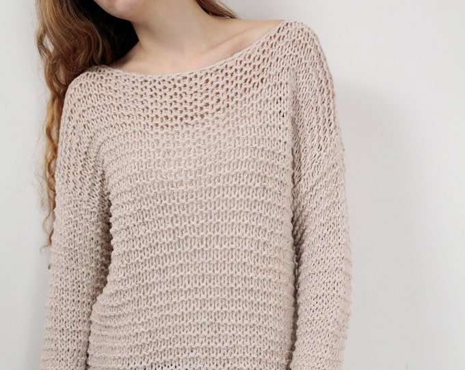 Hand knit woman sweater wool sweater pullover wheat sweater