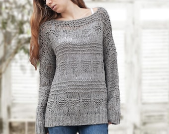 Hand knit sweater wool woman sweater long sweater Grey loose knit pullover sweater