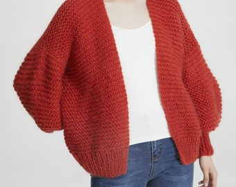 Hand knit oversize woman sweater chunky slouchy Mohair wool short cardigan Burnt Sienna