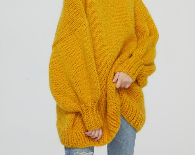 Hand knit woman long sweater OVERSIZED mohair dress sweater top pullover Boat neckline Gold Yellow