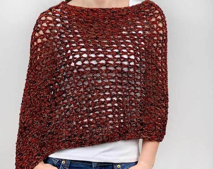 Hand knit woman sweater Little cotton poncho knit scarf knit red shrug