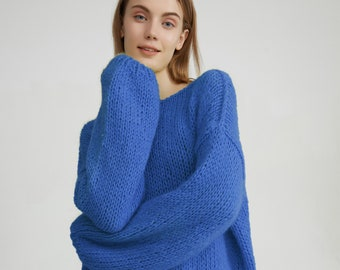 Hand knit woman sweater mohair loose knit sweater top pullover blue