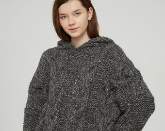 Hand knit oversize woman pullover hoodie sweater slouchy wool black white cable knit sweater