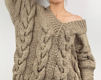 Hand knit sweater wool oversize woman pullover sweater V-neck slouchy khaki cable knit sweater
