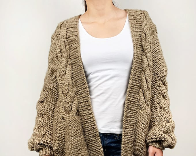 Hand knit oversize woman sweater chunky slouchy dark Khaki wool cable knit cardigan