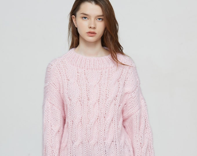 Hand knit oversize woman long sweater Crewneck slouchy mohair pullover cable knit Pink