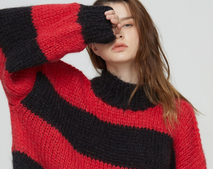 Hand knit woman long sweater OVERSIZED mohair stripped dress sweater top pullover black red