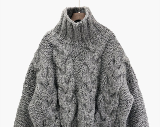 Hand knit oversize woman pullover sweater slouchy grey blend wool mohair high collar cable knit sweater