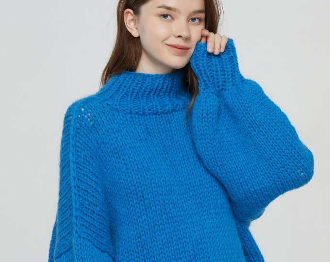 Hand knit woman long sweater OVERSIZED mohair dress sweater top Hight collar pullover Peacock blue