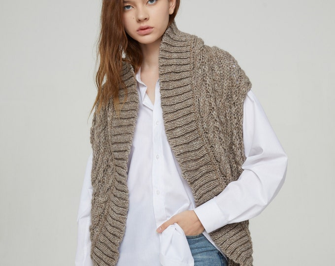 Hand knit long vest woman sweater Wool long cardigan