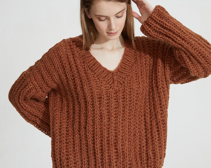 Hand knit woman sweater OVERSIZED mohair sweater top V-neck pullover brown sugar sweater