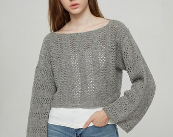Hand knit sweater Little cover up top cropped sweater grey pullover sweater