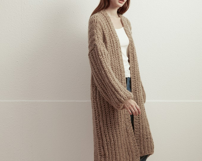 Hand knit woman long sweater mohair long cardigan sweater khaki