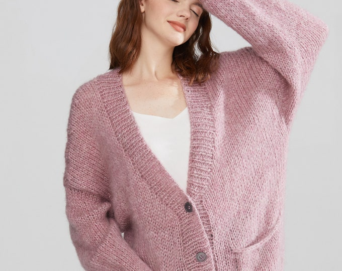 Hand knit oversize woman sweater Mohair sweater button front cardigan pocket Smoke Rose