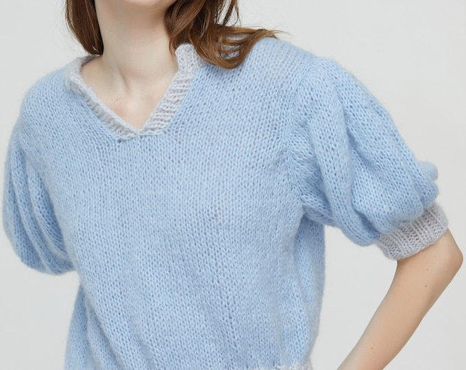 Hand knit woman sweater mohair Light weight short puff sleeve V-neck cropped pullover sweater top light blue
