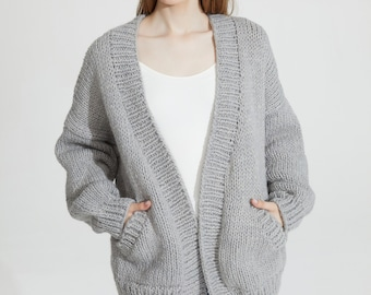 Hand knit oversize unisex men woman sweater chunky slouchy wool cardigan charcoal